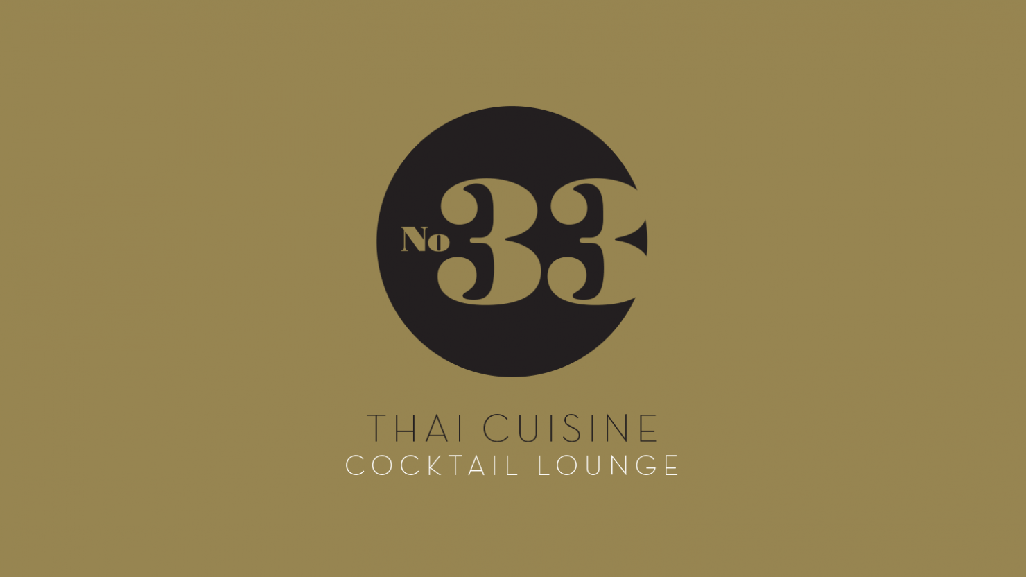 Example logo design for No. 33 Thai cuisine cocktail lounge bar restaurant Solihull