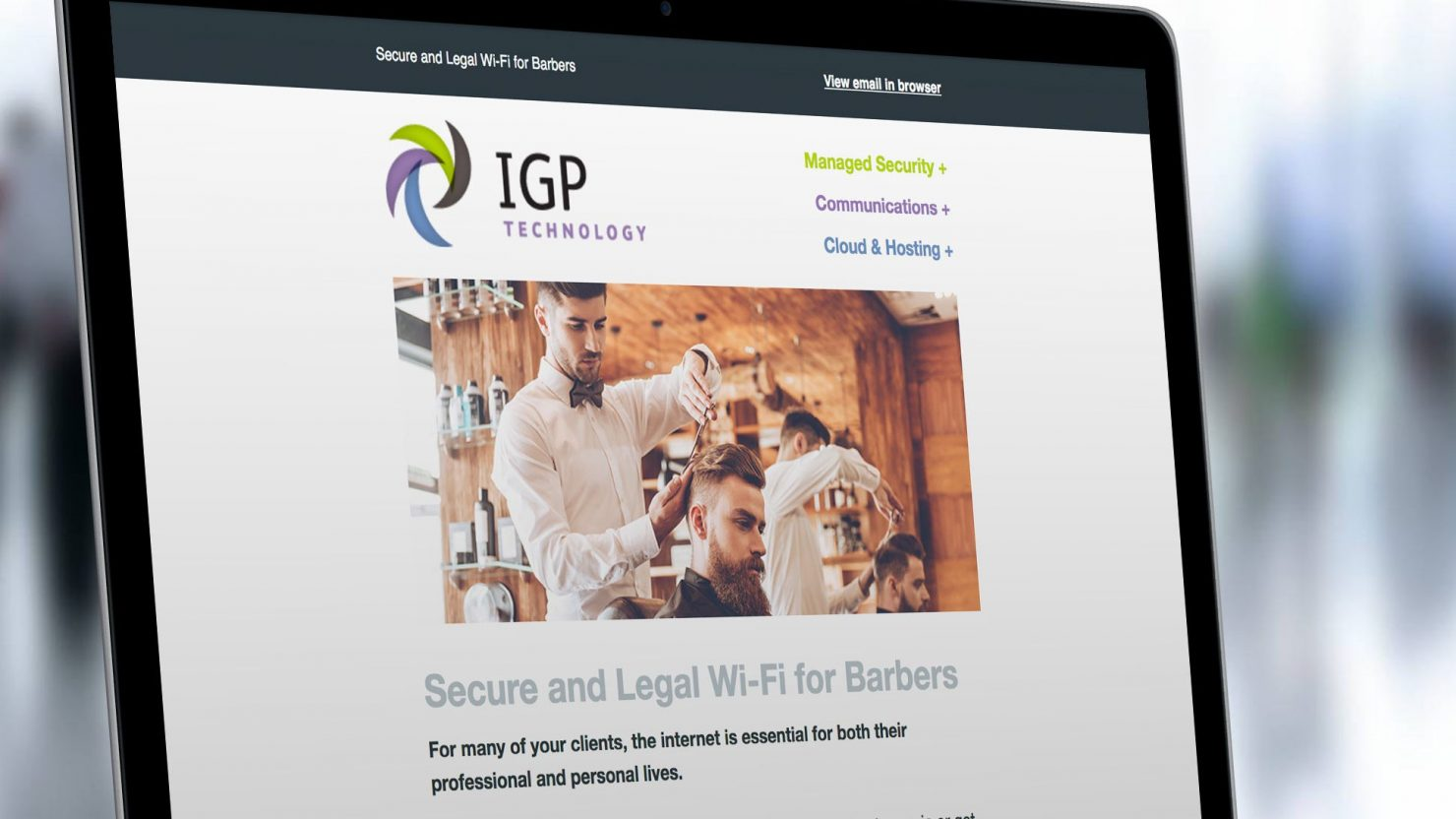 creative email marketing for IGP technology birmingham