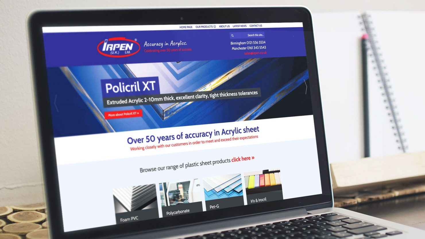 responsive web design and development on macbook for irpen uk ltd