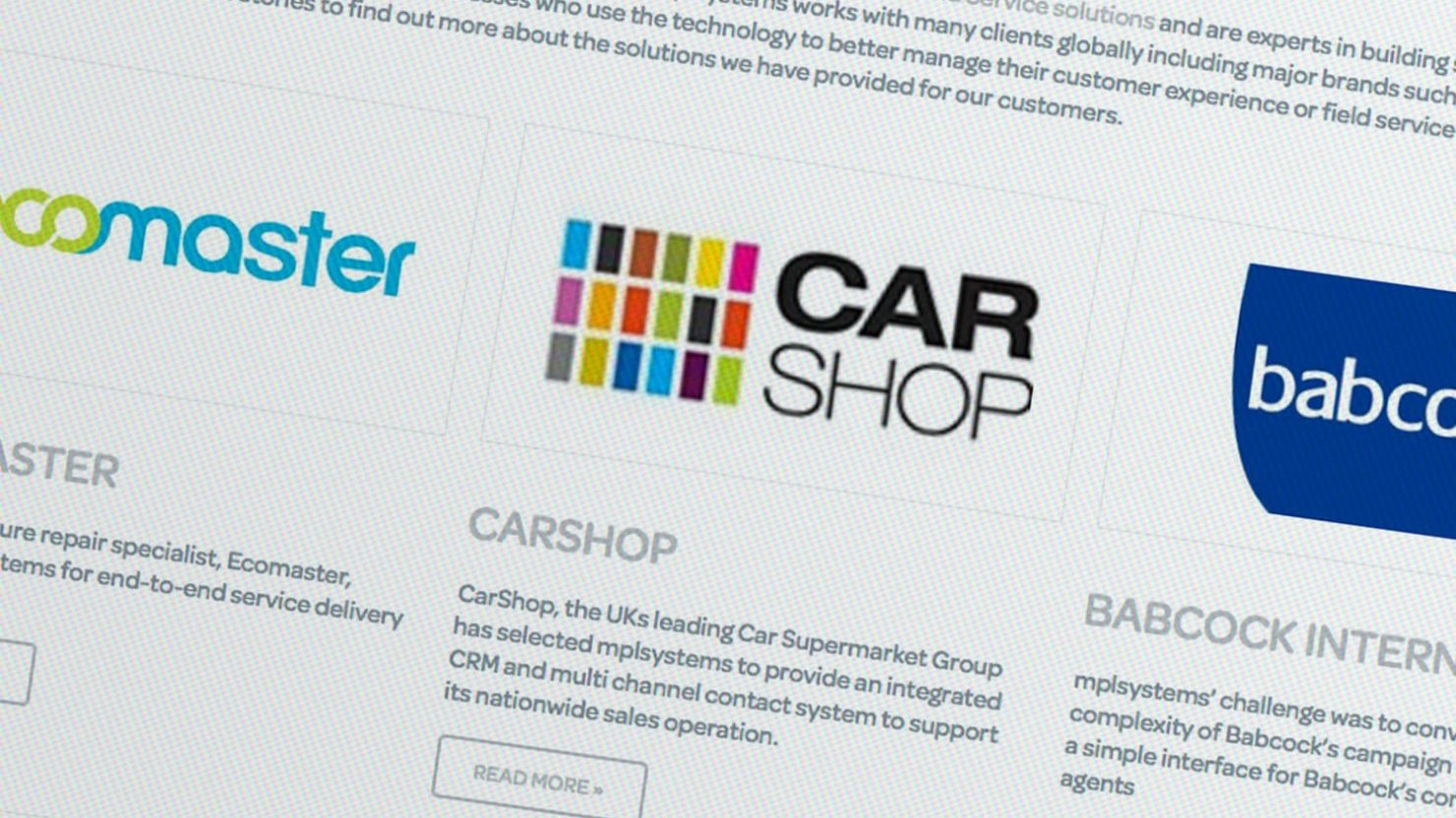 Logo case study graphic thumbnails for Wordpress website CarShop Babcock