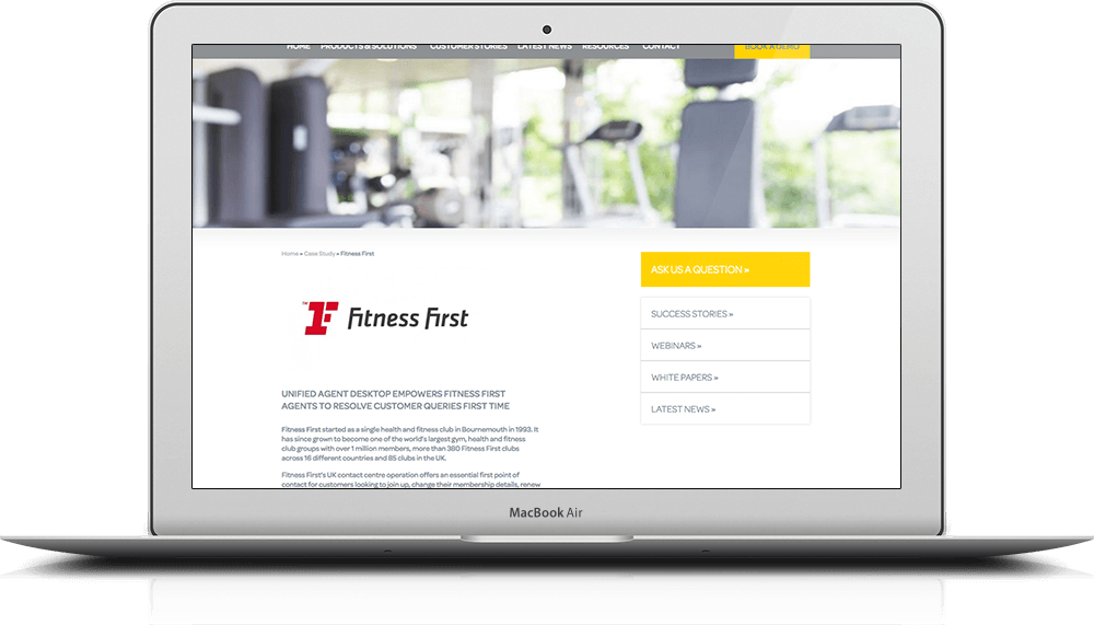 iMac showing branding and website design for MPL Systems with Fitness First logo