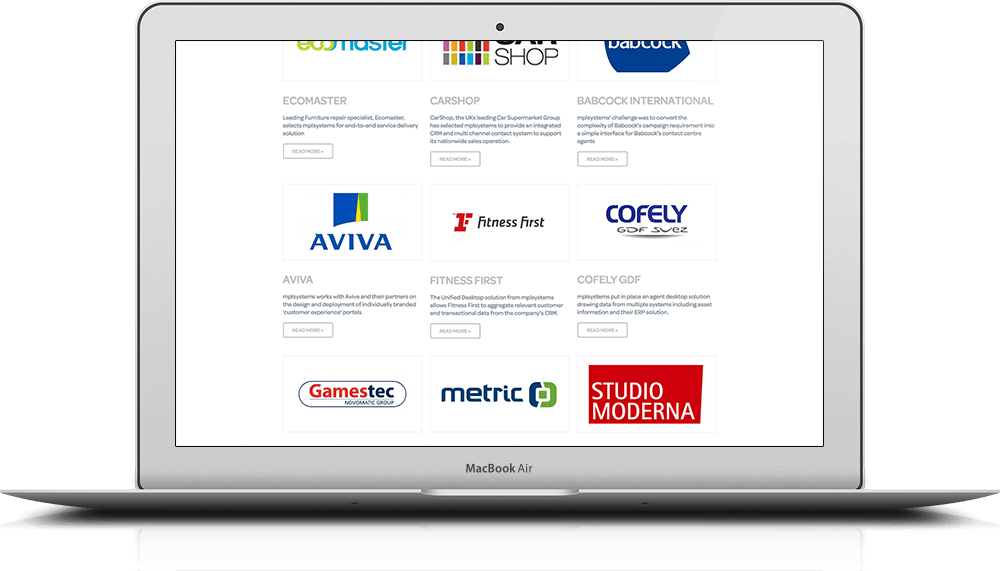 iMac showing branding and website design for MPL Systems with various case study logos