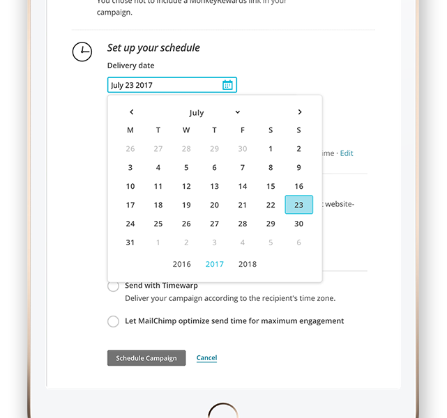 Calendar showing email marketing campaign scheduling