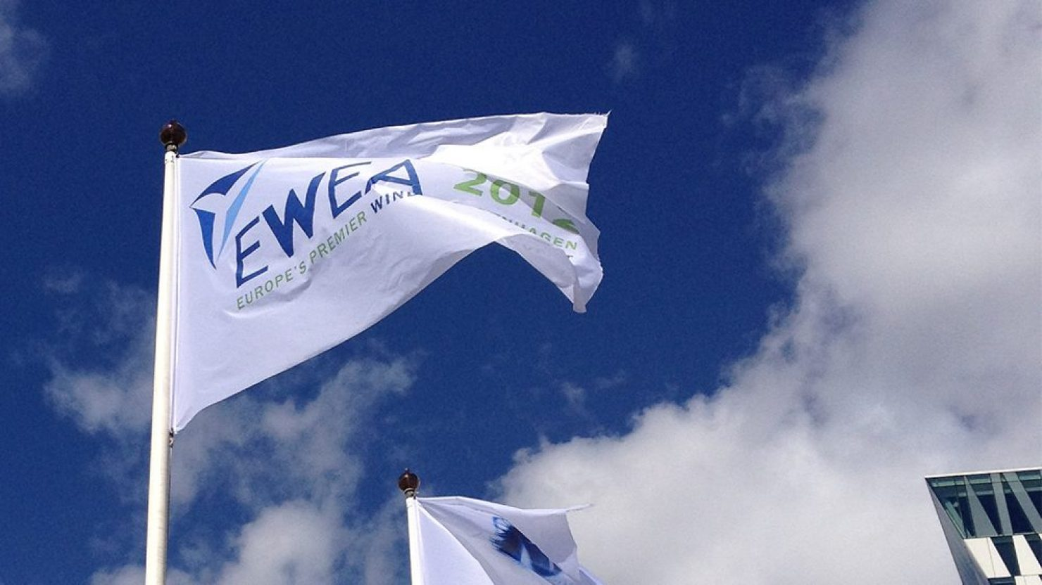 event flag branding design at ewea 2012