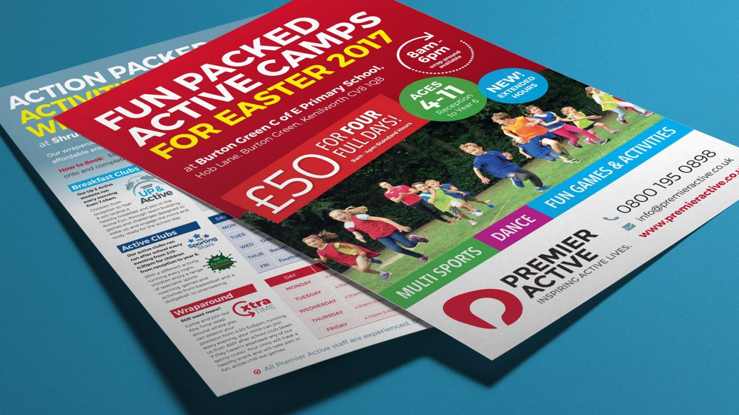 Leaflet design and print for Premier Active Solihull