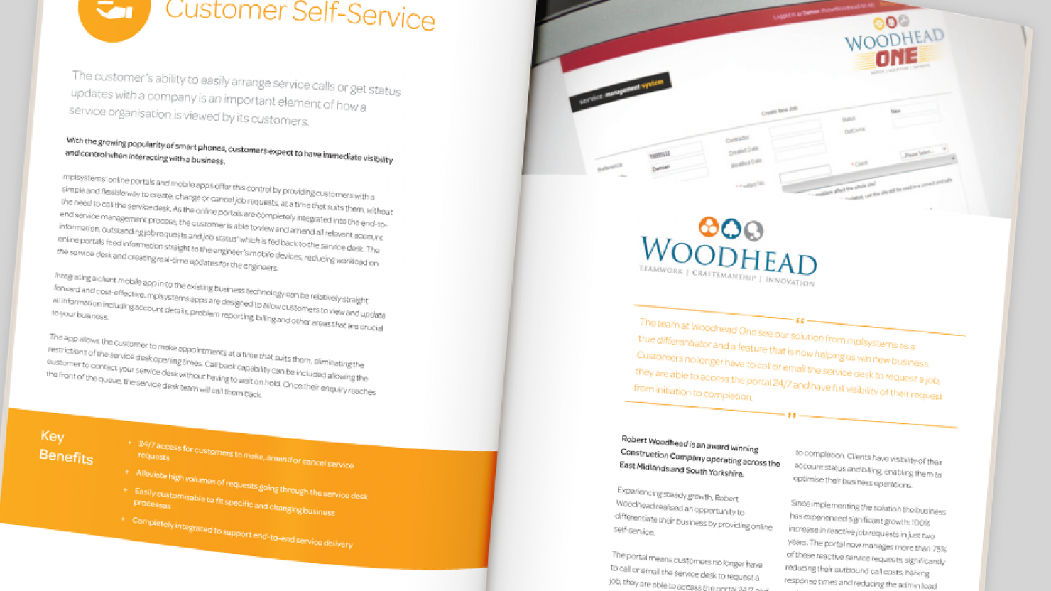 brochure design for mpl systems open spread