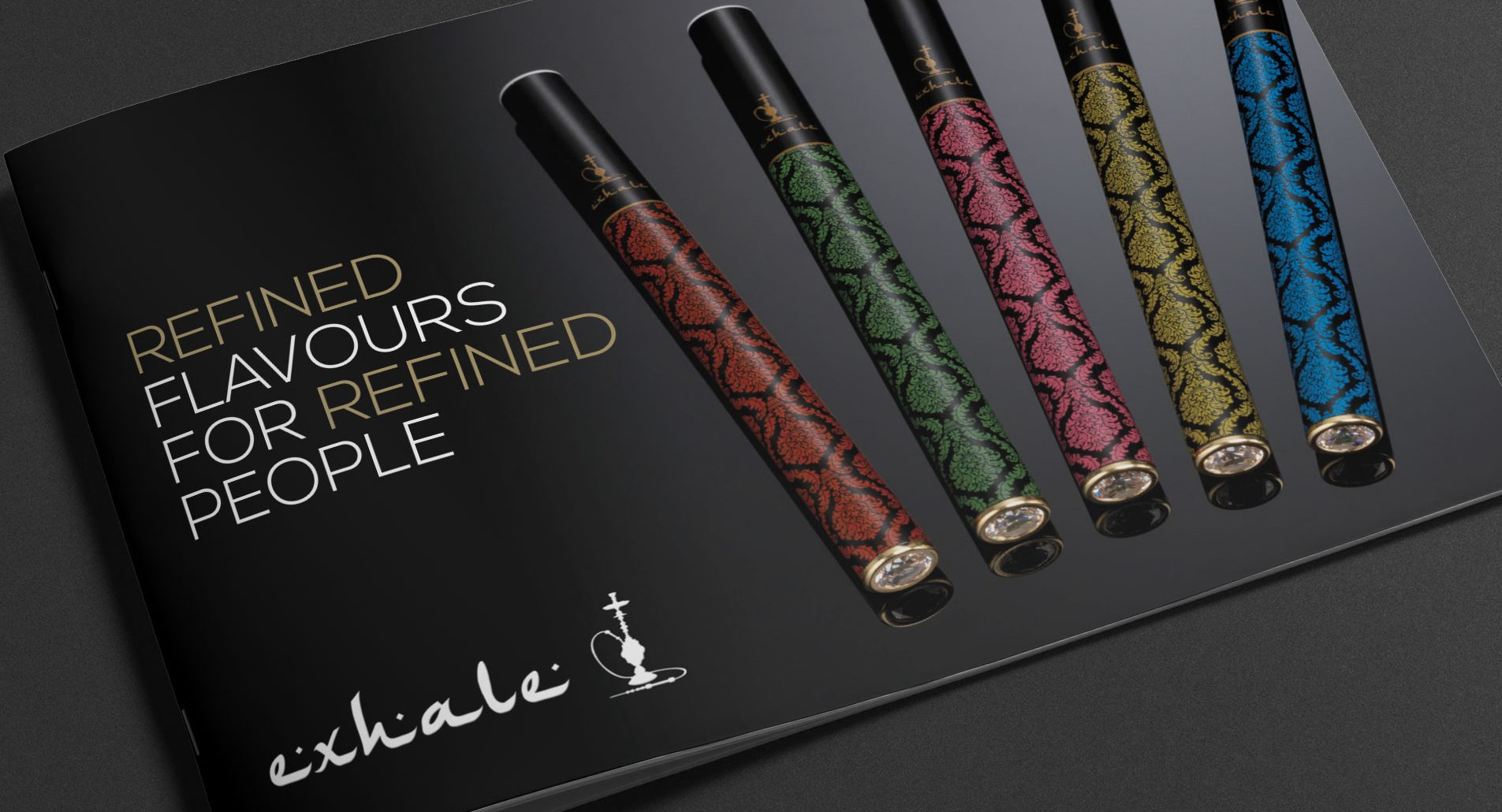 brochure design and branding example for exhale shisha pens