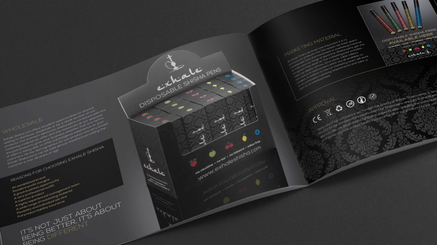 brochure design and packaging for exhale shisha pens