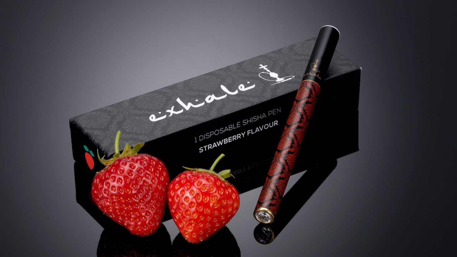 packaging design and branding for exhale shisha pens strawberry
