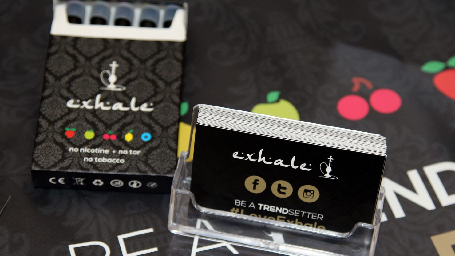 business cards and packaging design for exhale shisha pens