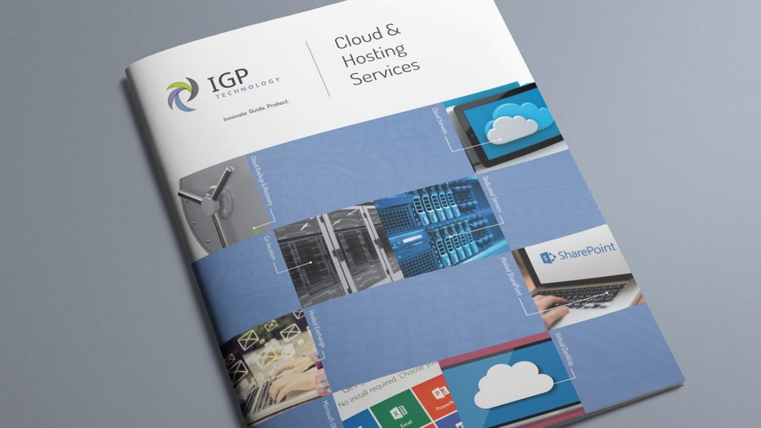 creative brochure design front cover for IGP technology
