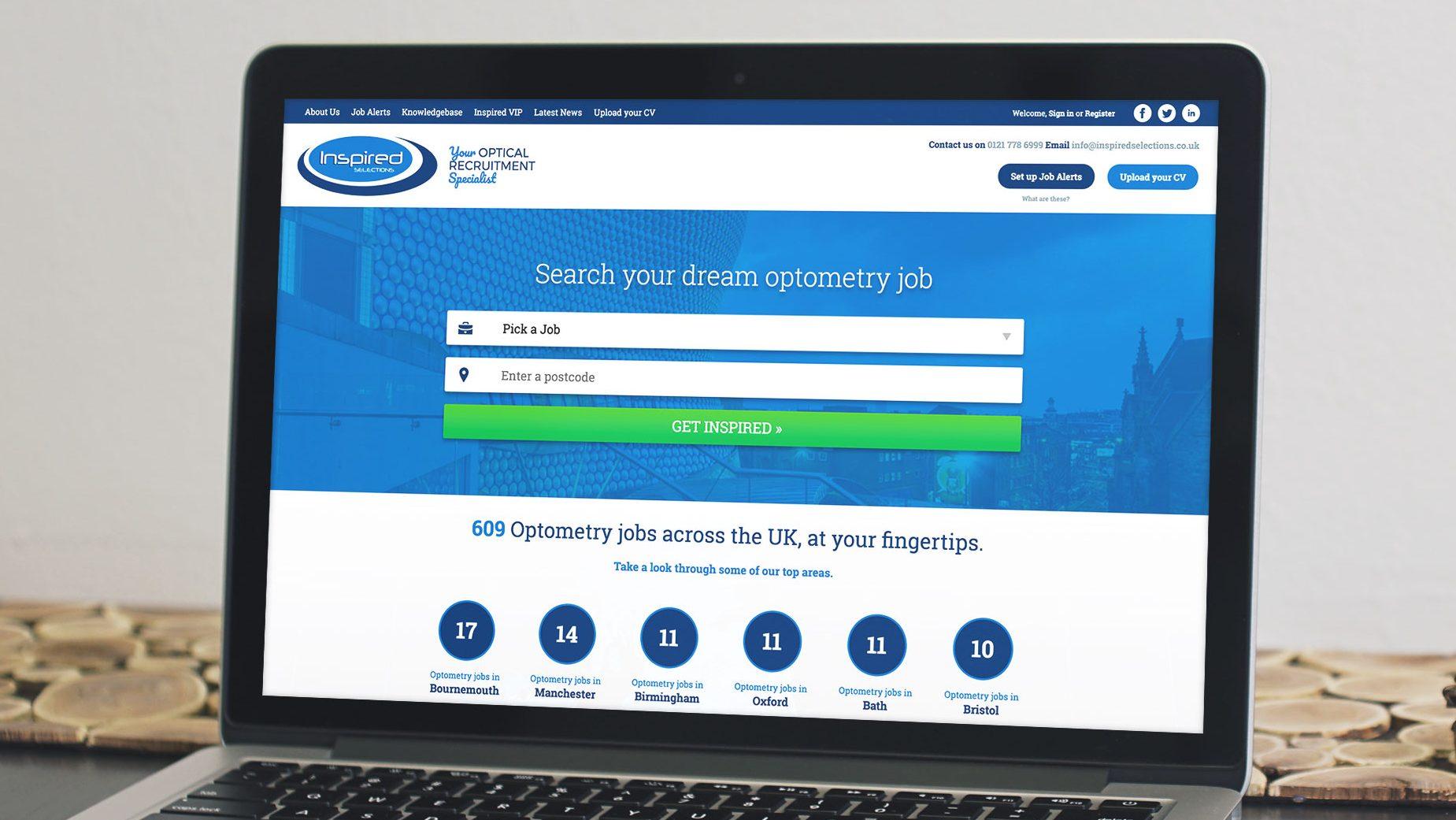 responsive job board website design for inspired selections birmingham shown on macbook