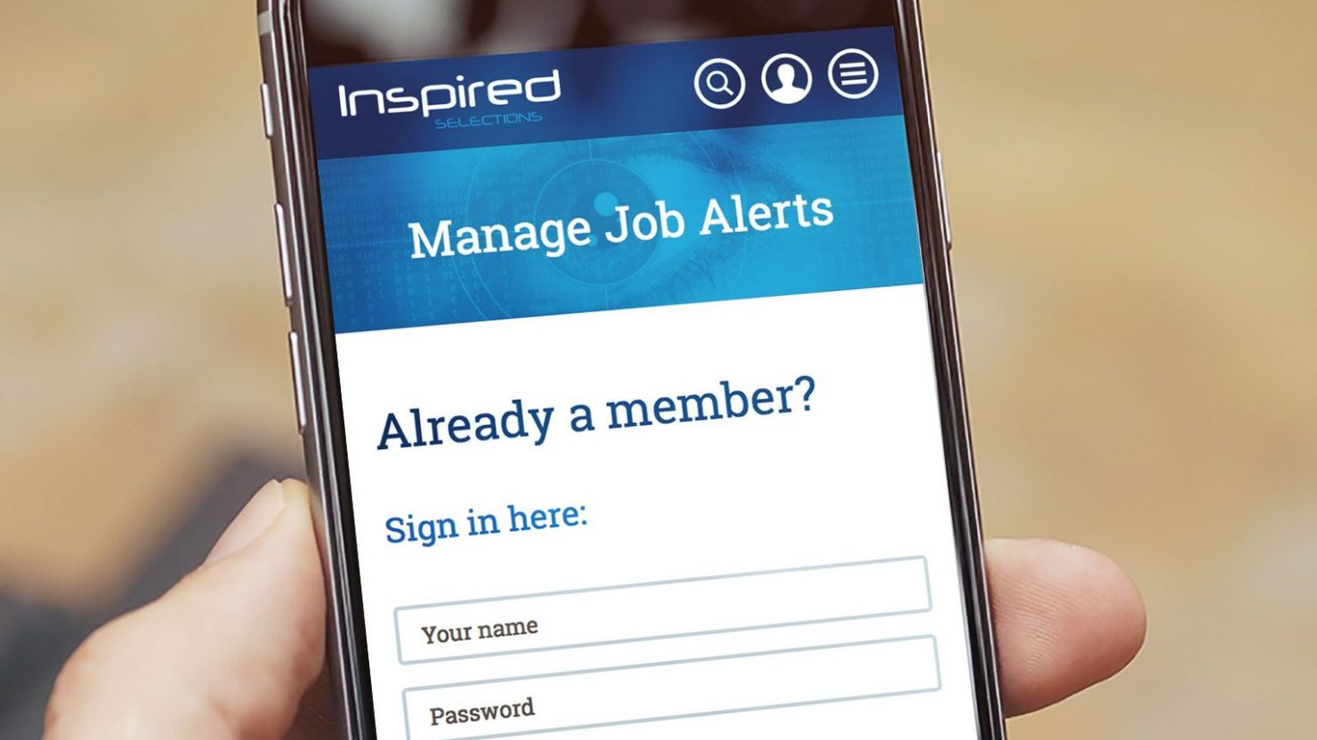 responsive job board website design for inspired selections birmingham shown on iphone