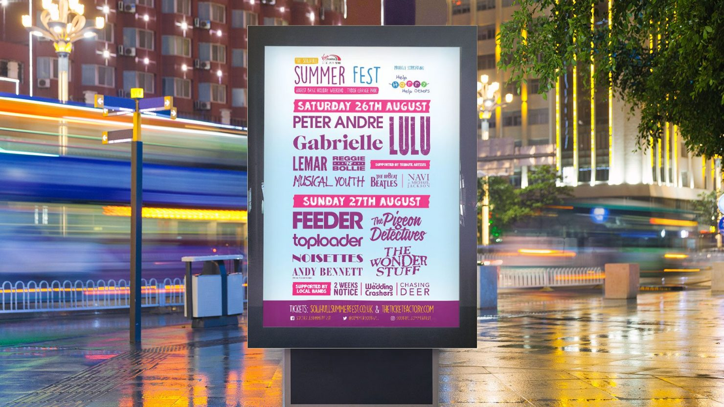 Logo design branding and marketing display for Solihull Summerfest