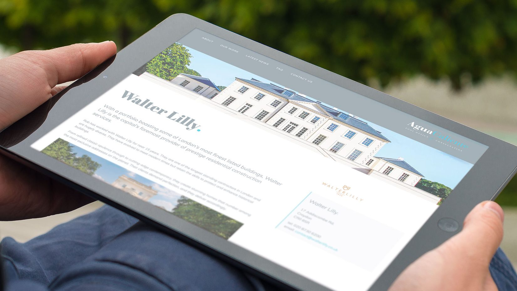 ipad showing agua caliente responsive website design featuring walter lilly