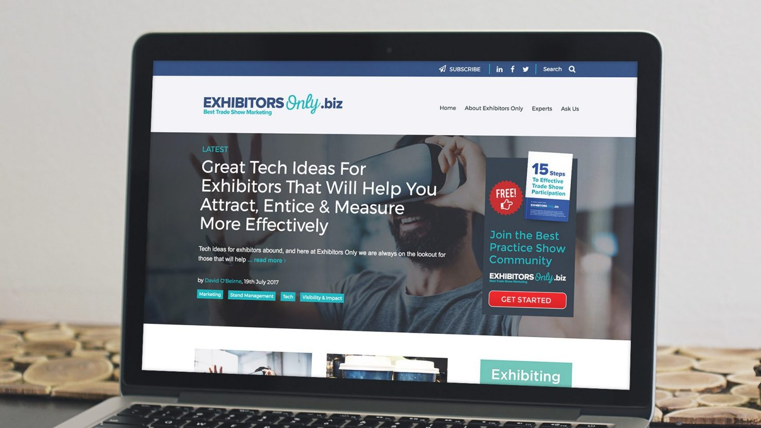 creative responsive web design for exhibitors only on laptop