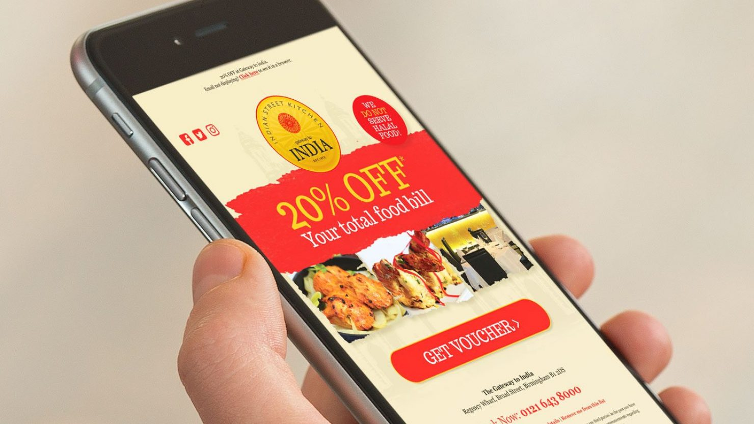 responsive restaurant email marketing for gateway to india shown on iphone