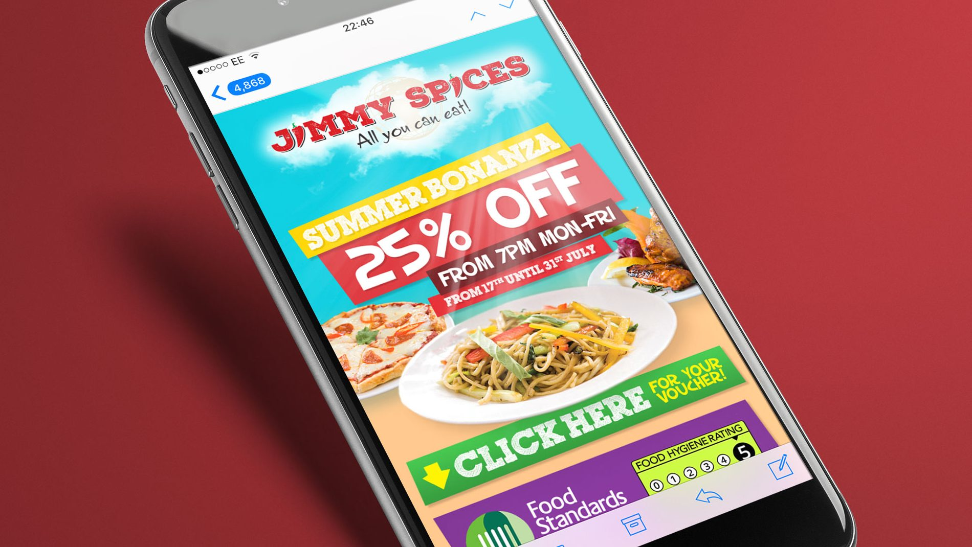 iPhone showing responsive email marketing campaign for Birmingham restaurant Jimmy Spices
