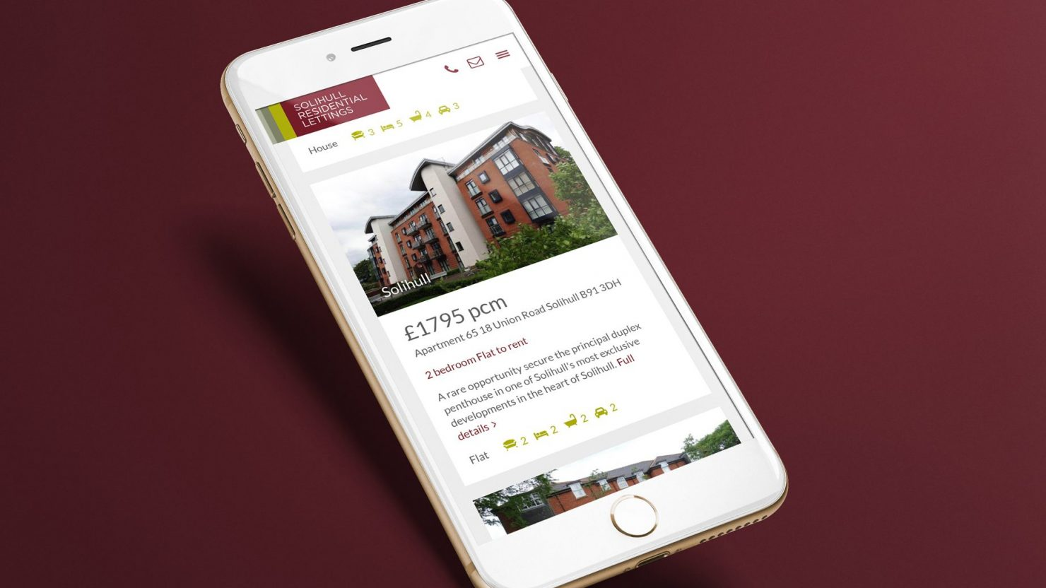 iPhone showing website design and branding for Solihull Residential Lettings